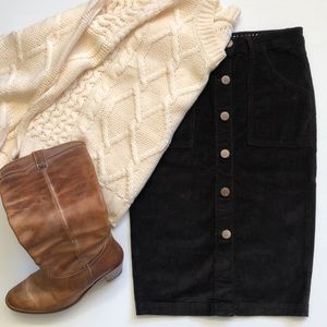 Corduroy Brown Classic Pencil Skirt Button Up sz 8